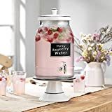2 Gallon Chalkboard Ice Cold Clear Glass Beverage Drink Dispenser With Ceramic Lid & Cake Stand/Base- Great For Outdoor, Bars, Party, Home, & Daily Use