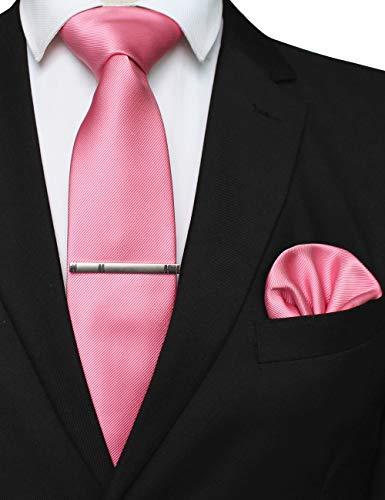 JEMYGINS Seide Krawatte Pink Krawatten und Einstecktuch mit krawattenklammer Set für Herren Seidenkrawatten Hochzeit Schlips (18)