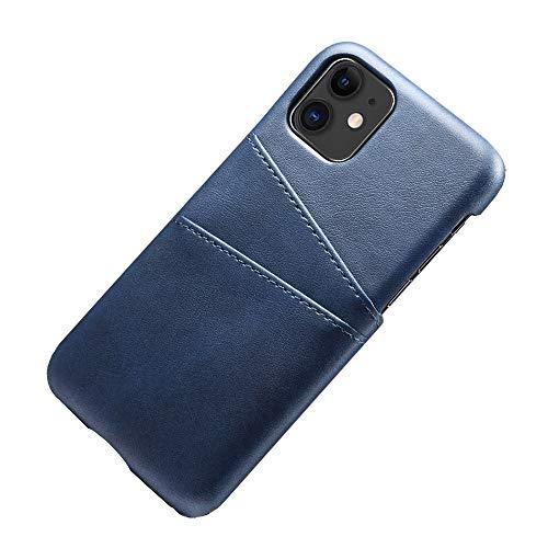 Desconocido Funda iPhone 11 Pro MAX Funda Tarjetero Slim de Piel Sintética Vintage con 2 Ranuras para Tarjetas/DNI Cubierta Simple Fácil de Instalar para iPhone 11/11 Pro (iPhone 11, Azul)