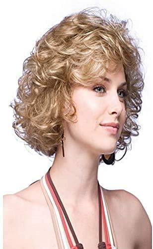 Hermosas pelucas, Corto peluca rizada mullido pequeño pelo rizado pelo corto mujer pelucas pelucas bob rubias hombres rizado pelo suelto rizado peluca jengibre natural peluca recta pelo largo rubio co