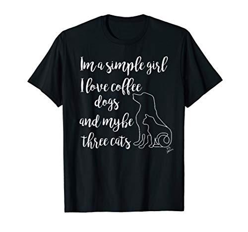 lustiges Katzenoberteil Ich liebe Kaffee Hunde und 3 Katzen T-Shirt