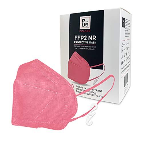 PLUS FFP2-Masken Pinke mit bequemen Gummibändern, verstellbarem Nasenstück, Staub- und Pollensicherheit, weißem Interieur, CE-zertifiziert mit Haken Inklusive Packung mit 20 Stück