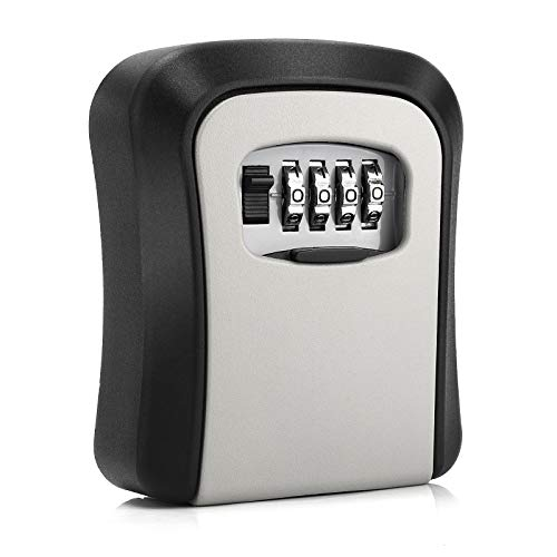 Key Lock Box, Combination Lock Box Wall Mounted Waterproof Key Storage Lock Box for Outdoor & Indoor 5 Keys Capacity Re-Settable Code