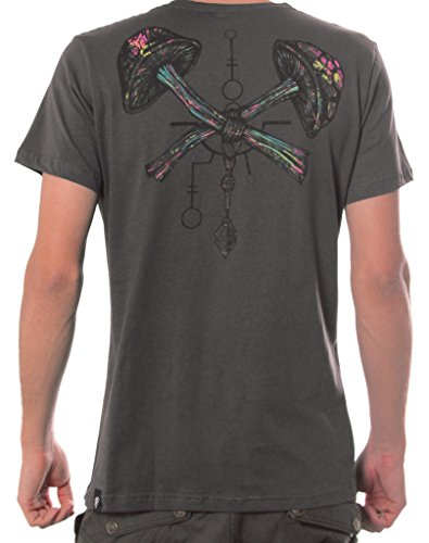Herren T-Shirt mit Psychodelischem Street Art Pilz Aufdruck - Dunkel Braun - Small - handgefertigt durch Siebdruck