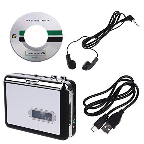 ULTECHNOVO Conversor de Fita Cassete Mp3 Player de Música de Alta Fidelidade Conversor Portátil Usb Music Player Conversor para Casa Ao Ar Livre (Sem Bateria)