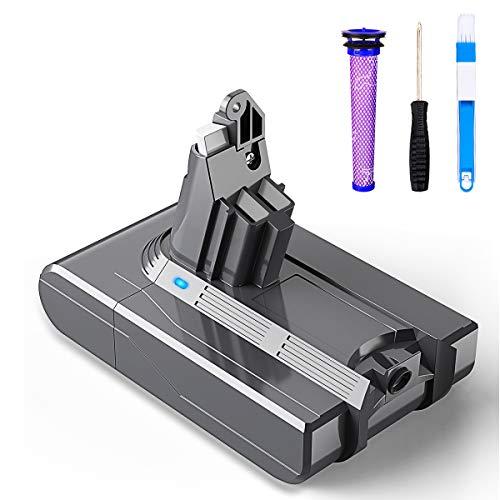 BuTure 3500mAh Dyson V6 21.6V Batería de Repuesto para Dyson DC62 SV03 SV05 DC58 DC59 SV06 SV07 DC61 DC72 DC74 SV09 Aspiradora con Prefiltros, Cepillo de Limpieza y Destornillador