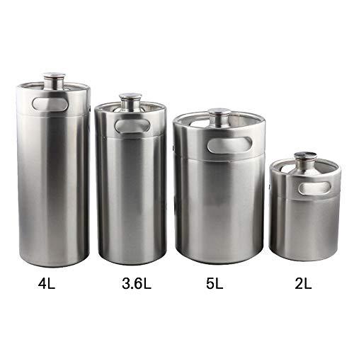 LYY 2L/3.6L/4L/5L Mini Beer Keg 304 Stainless Steel Beer Pressurized Growler Beer Barrel Home Brewing Beer Making Tool for Beer, Water, Soda, Wine, Coffee,2L