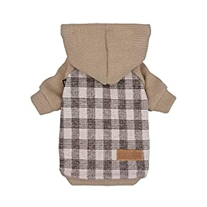 Fitwarm Knitted Pet Clothes Dog Sweater Hoodie Sweatshirts Pullover Cat Jackets Khaki Small