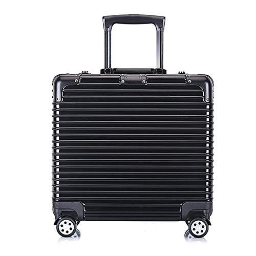 Huiran Valigia trolley da viaggio per affari Valigia scatola da 18 pollici Valigetta da viaggio per viaggi d'affari da 16 pollici scatola da uomo in alluminio-nero_18 pollici