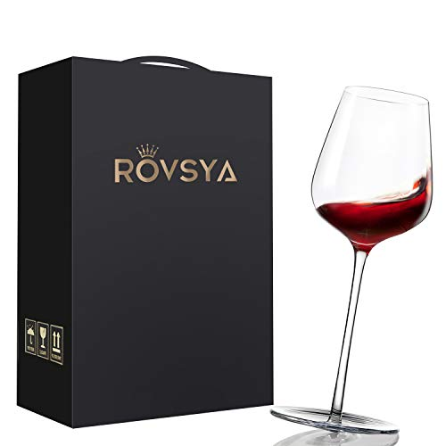 ROVSYA Crystal Red Wine Glasses Set of 2, Funny Rotatable Hand Made Wine Glasses for Aerating and Tasting-Made of Lead Free Finest Crystal, 17 OZ, A Perfect Gift for Father's Day, Anniversary