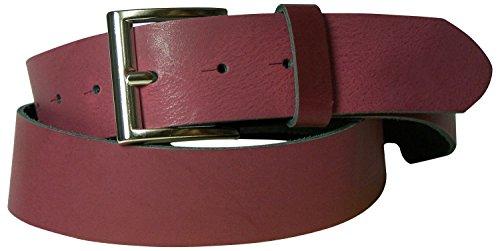 FRONHOFER Gürtel für Damen & Herren, 4 cm Ledergürtel, ALLROUND Gürtel, Gürtelschnalle glänzend silber, 18010, Größe:Körperumfang 105 cm/Gesamtlänge 120 cm, Farbe:Bordeaux