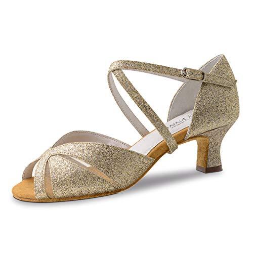 Anna Kern Zapatos de baile para mujer 620-50, brocado dorado, ancho normal, tacón de 5 cm, color Dorado, talla 38 EU