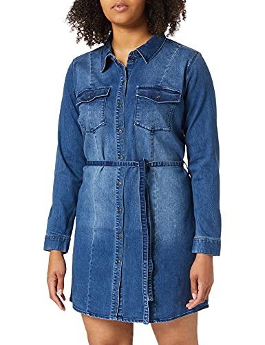 ONLY Carmakoma CARNETTE Life LS Belt DNM Tunic Dress Vestido, Medio De Mezclilla Azul, 50 ES para Mujer