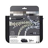 Winsor & Newton Promarker - Pack De 24 Rotuladores De Diseño, Tonos Grises Y Negros