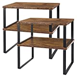 Set of 4 Counter Shelves Kitchen Stackable Cabinet Shelve Wood Organizer Expandable Counter Top Racks Brown Bathroom Counter organizer