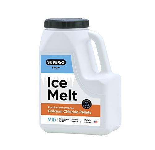 Superio Calcium Chloride Snow & Ice Melt Pellets | Concrete Safe Ice Melt (9 LB JUG)