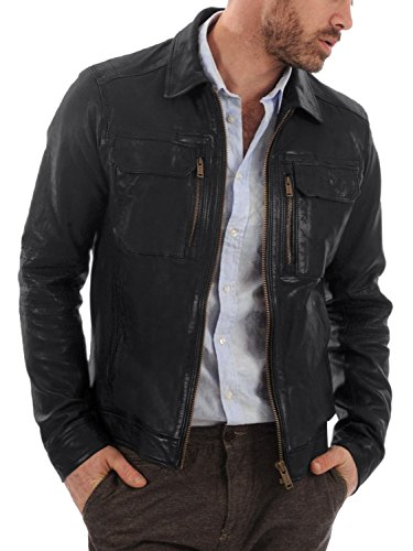 Laverapelle Men's Genuine Lambskin Leather Jacket (Black, Large, Polyester Lining) - 1501483