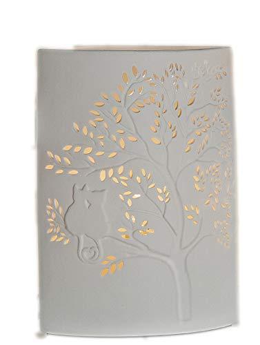 Preisvergleich Produktbild Lampe Porzellan weiss Motiv Katze auf Baum