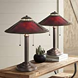 Mica Collection Mission Tiffany Style Desk Table Lamps 18 1/2' High Set of 2 Art Deco Rustic Rubbed Bronze Natural Mica Shade for Bedroom House Bedside Nightstand Home Office - Robert Louis Tiffany