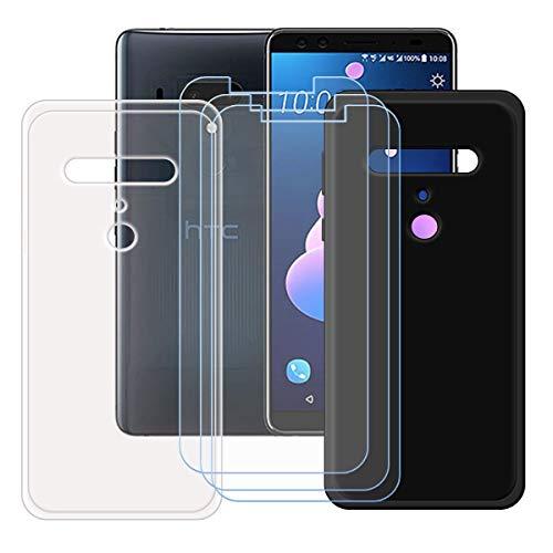 DQG Panzerglas + Hülle für HTC Exodus 1,Transparent + Schwarz Cover TPU Handyhülle Silikon Tasche Hülle Schutzhülle - 3 Stück Gehärtetes Glas Schutzfolie für (6.0