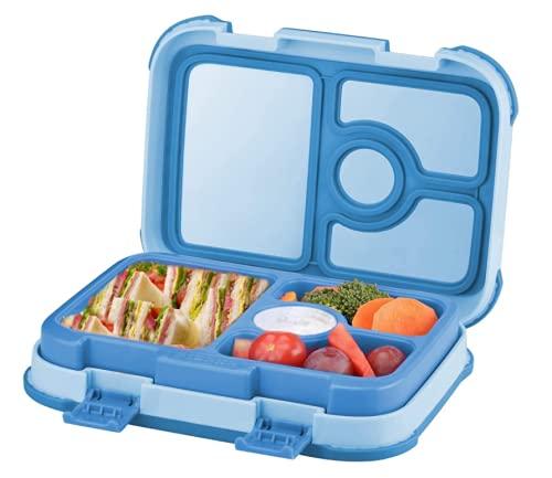 Kids Roestvrijstalen lekvrije lunchbox voor kinderen, lunchbox, 4-commpartment Bento Box voor kinderen, BPA-vrije…
