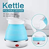 TOPREDO Travel Foldable Electric Kettle Portable Silicone Collapsible Kettle 110-220V 650ML for Most
