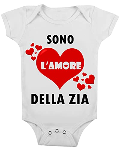 t-shirteria Body de bebé divertido – Sono l'Amore della Zia – Body de bebé divertido – Body Zia – Idea regalo para recién nacido blanco 6-12 Meses