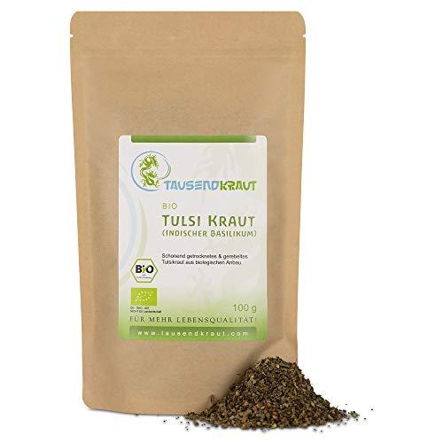 Tausendkraut PREMIUM Tulsi Tee - 100g - Indischer BIO Basilikum - Ocimum tenuiflorum - Hohe Produktsicherheit - Fairer Anbau und Handel - Nachhaltig und natürlich - Bester Geschmack