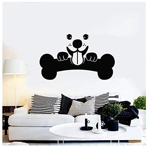 Vinilo adhesivo para pared de mascotas, diseño de cachorro, perro hueso, animal para niños, habitación de los niños y mascotas, tienda de peluquería, decoración interior de vinilo mural