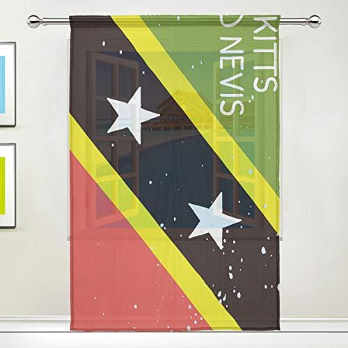 All3DPrint - Cortinas de gasa con diseño de gatitos y bandera de Nevis para ventana o puerta, para sala de estar, dormitorio, oficina, decoración del hogar, 55 x 78 pulgadas, poliéster, Blanco, 55x78x1(in)