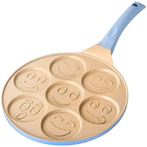 Erreke - Sartén para Tortitas, Molde Tortitas, Todo Tipo de Cocinas Incluso Inducción, Antiadherente, Diseño Caritas, Mango Tacto Suave, Infantil y Divertido, Tamaño 26 cm, Color Azul