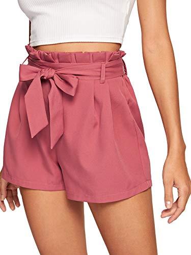 DIDK Damen Locker Shorts Elastischer Bund Casual Sommerhose Sommer Short Kurz Hose mit Schleife Gürtel Rosa S