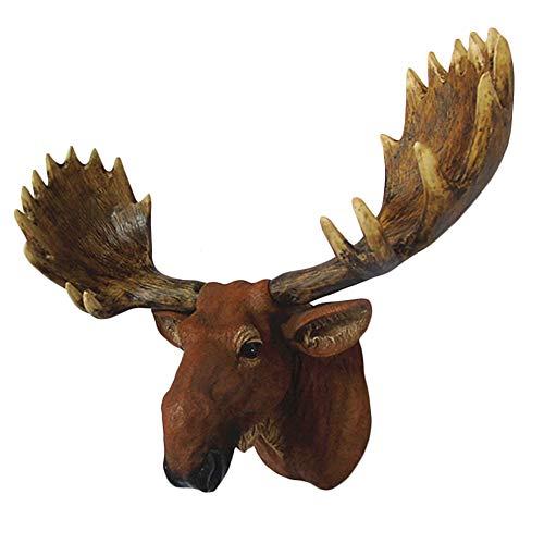 Deer Head Decor Wall Art Wall Hanging Reindeer Stag Head Simulation Elk Moose Head Wall Hanging Sculpture Statue