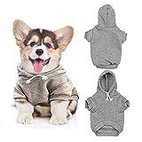 Sudadera con capucha de algodón para perros y gatos, abrigos cálidos para mascotas, color sólido, ropa gruesa, para perros pequeños, cachorro, caniche de peluche Chihuahua (S, gris)