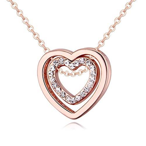 Tsubaya Collar de Amor Simple Collar con Incrustaciones de Cristal de Diamante Completo de Moda Cadena de clavícula con Colgante Hueco de Doble corazón - Oro Rosa
