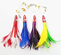 Krazywolf Offshore Fishing Bullet Teasers Squid Lures Saltwater Trolling Feather Jigs Fully Rigged,4 Colors Set,6 Inch