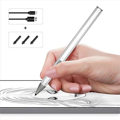 Nefelibata Stylet actif - 100 % compatible - Surface Pro X / 7/6/5/4/3 - Stylet rechargeable avec sensibilité à la pression 4096 - Chargement rapide - Corps du stylo en alliage d'aluminium (argent)