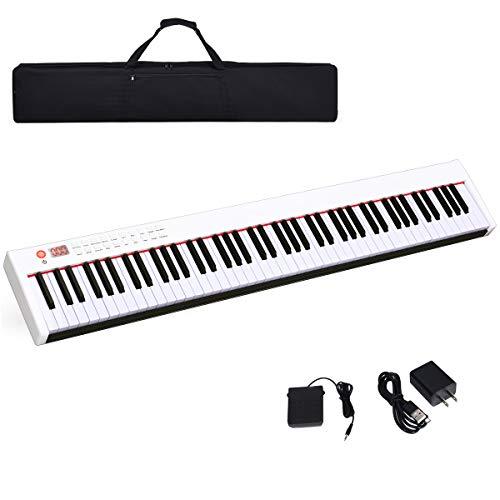 COSTWAY Pianoforte Digitale 88 Tasti, Tastiera Elettronica Portatile con Tasti Pesati, Funzione MIDI e Bluetooth, Ideale per Bambini e Adulti