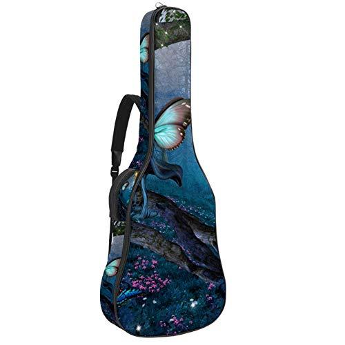 Funda para guitarra reforzada con esponja gruesa y acolchado extra de protección para el cuello, soporte para colgar en la parte trasera, guitarra acústica clásica, mariposa de fantasía