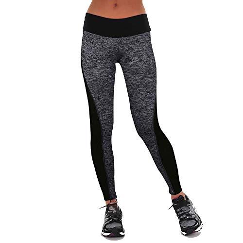 Zebin Pantalones de mujer, pantalones de yoga, pantalones de fitness deportivos, mallas de moda para mujer, ropa deportiva informal, polainas, gris, XXX-Large