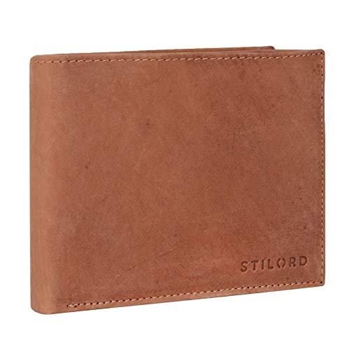 STILORD 'Morris' Cartera Cuero Hombre Billetera Masculina para Monedas Billetes Monedero Caballero señor de auténtica Piel, Color:Antero - marrón