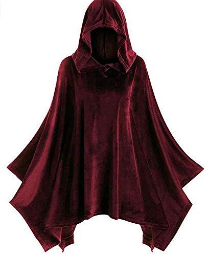 PORU Halloween Festmantel Mit Kapuze Samtumhang Umhänge Halloween Kostüm Mittelalter Kostüm Wicca Vampire Long Cape Goth Hexe Schwarz,Red-XXXXL
