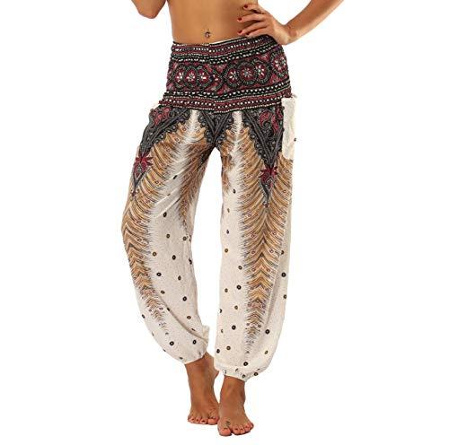 Pantalones de Yoga Boho para Mujer, Pantalones de harén, Pantalones de Playa Casuales fluidos Hippie Talla única