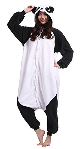 Wamvp Unisex Jumpsuits Overall Pyjama Onesie Fleece Erwachsene Tier kostüme Panda - L