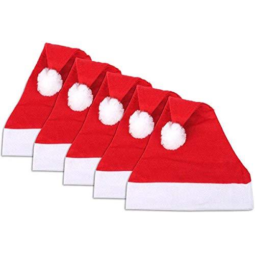 Jonami 5 Cappelli di Babbo Natale. Cappellini Tradizionali Rosso e Bianco Unisex Taglia Unica a Design Natalizio. Accessori per Costume di Babbo Natale