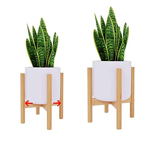 Macllar Soporte para macetero, Soporte de bambú Extensible, Soporte para Plantas Soporte de Flores para Plantas de Interior y Exterior, 1 Paquete
