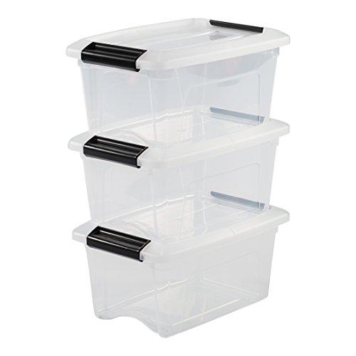 Iris Ohyama, 3er-Set stapelbare Aufbewahrungsboxen mit Klickverschluss - New Top Box NTB-5 - plastik, transparent, 3 x 5 L, L28,5 x B19,5 x H14 cm