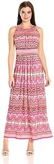 فستان حريمي طويل ماركة Sandra Darren قطعة واحدة بدون أكمام مطبوع