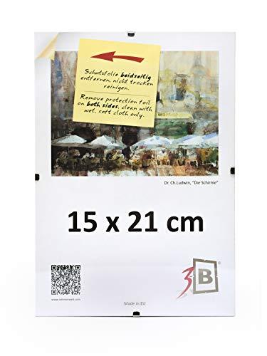 3-B Rahmenloser Bildhalter mit Polyesterglas - Cliprahmen 15x21 cm (A5)