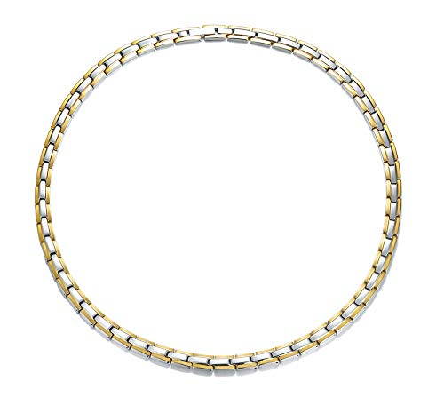 Stainless Steel Magnetic Therapy Necklace Pain Relief & Inflammation Reduction For Neck Arthritis Migraine Headaches Shoulders and Back,Gold